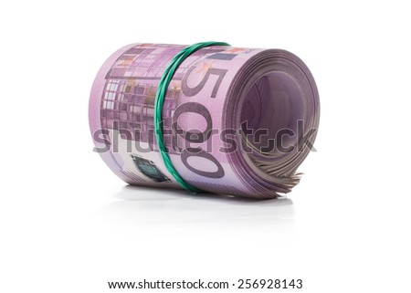 Pack of banknotes in roll. Isolated over white background. - stock photo