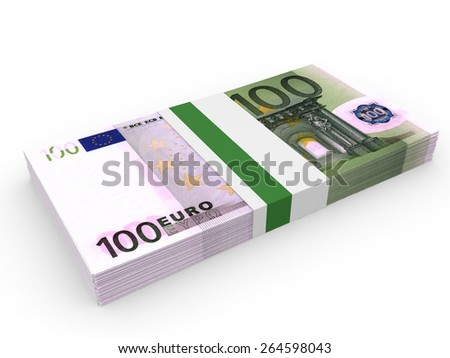 Pack of banknotes. One hundred euros. 3D illustration. - stock photo