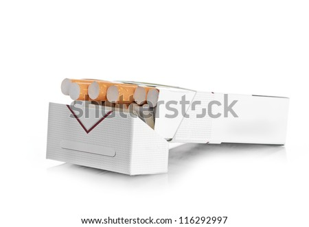 Pack of cigarettes isolated - stock photo