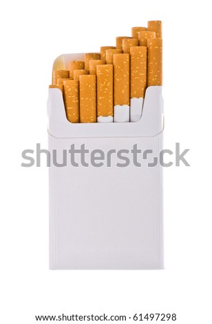 Pack of cigarettes with cigarettes sticking out isolated on white. - stock photo