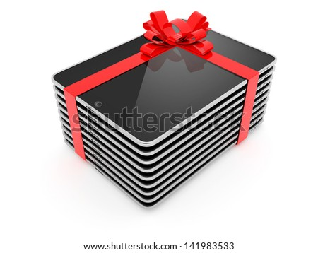 Pack of Computer Tablet Gift Isolated on White Background - stock photo