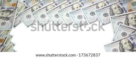 Pack of dollar bills on white background - stock photo