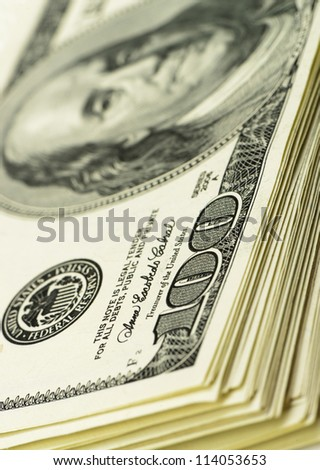pack of dollars.Highly detailed picture of American money - stock photo