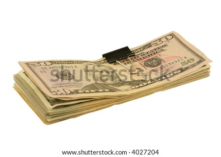 Pack of dollars isolated on white. - stock photo