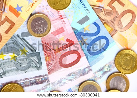 Pack of european currency, banknotes and coins - stock photo