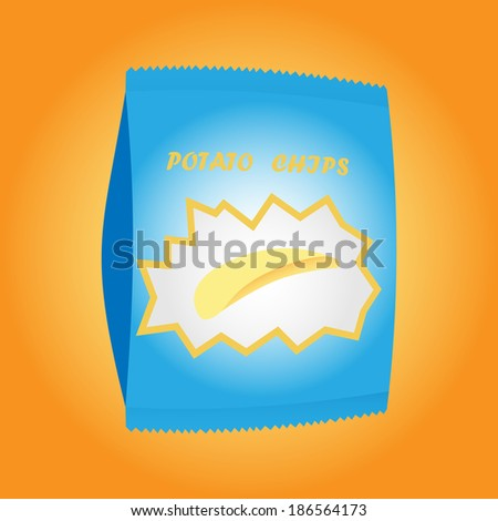 Pack of potato chips - stock photo
