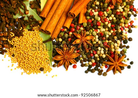 Pack of several spices, anise, cinnamon, pepper, charlock - stock photo