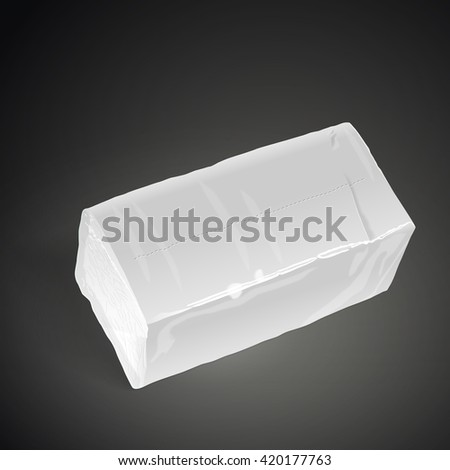 pack of tissue paper isolated on black background. 3D illustration. - stock photo