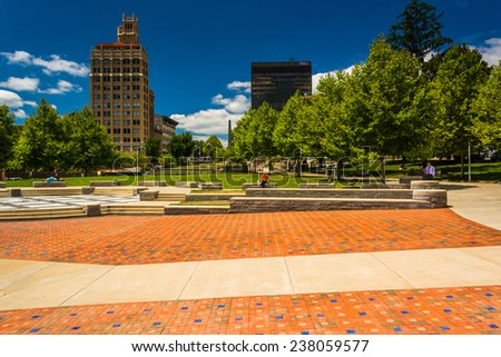 Pack Square Park and highrises in Asheville, North Carolina. - stock photo