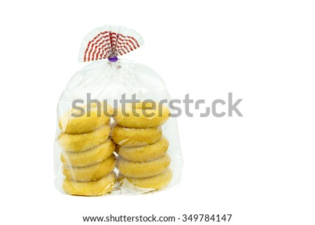 package of donuts isolated on a white background - stock photo