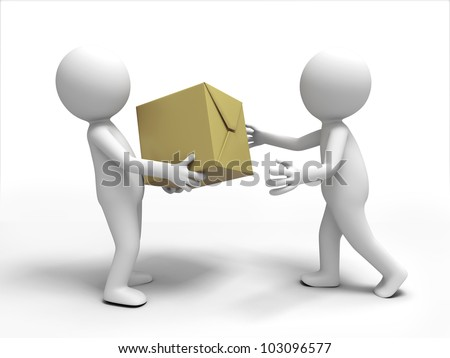 package to the other/A 3d people brought the package to the other - stock photo