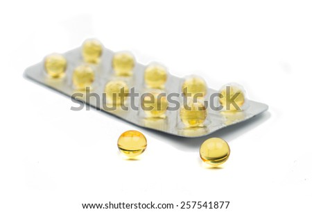 packaging of tablets on a white background - stock photo