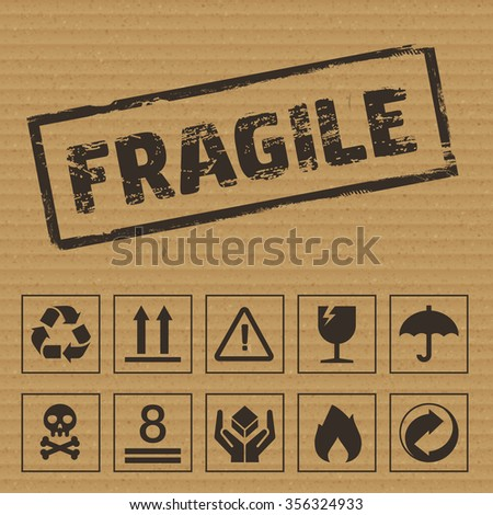 Packaging Symbols. Icons like: fragile, this side up, keep dry, recyclable etc - stock photo