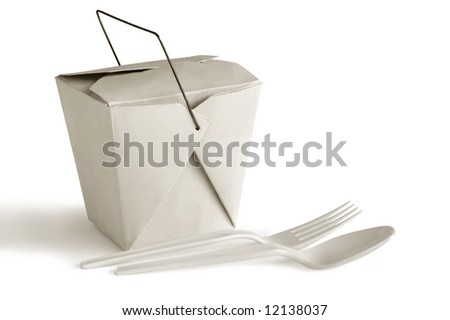 Packed food with spoon and fork - stock photo