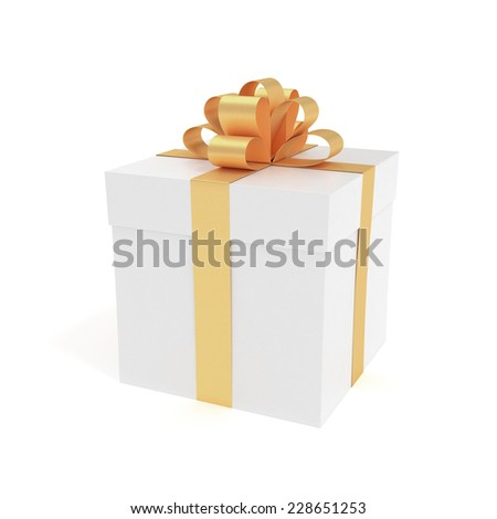 Packed luxury gift box with golden ribbon - 3D rendered image - stock photo