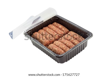 packed minced meat from supermarket, isolated on white with clipping path - stock photo