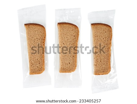 Packed slices of bread isolated on white - stock photo