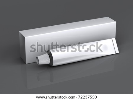 packing and a tube on a gray background with reflection - stock photo