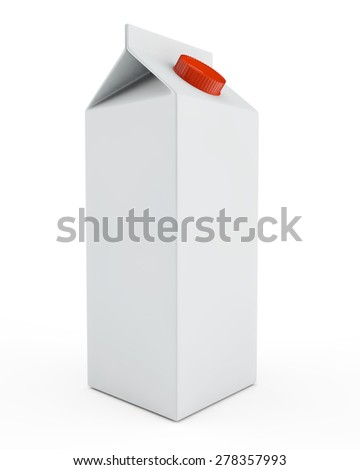packing for liquid products of milk or juice, without label with a cover - stock photo