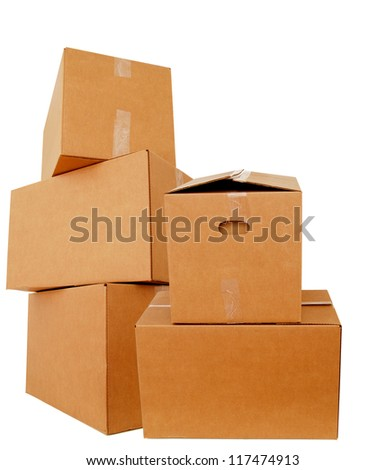 Packing of cardboard boxes - stock photo