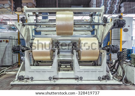 Packing tape manufacturing - stock photo