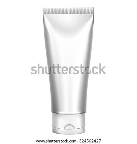 Packing White Realistic Tubes For Cosmetics Isolated On White Background. Here Can Be Creams, Toothpaste, Gel, Sauce, Paint, Glue, Ointments, Lotions, Medicines. Use Mockup For Your Design - stock photo
