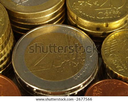 Packs of different EURO coins - stock photo