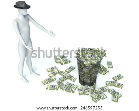 Packs of dollar in the garbage can. 3d man - stock photo