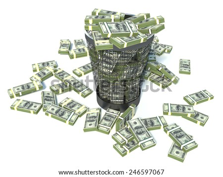 Packs of dollar in the garbage can. Waste of money or currency collapse concept. - stock photo