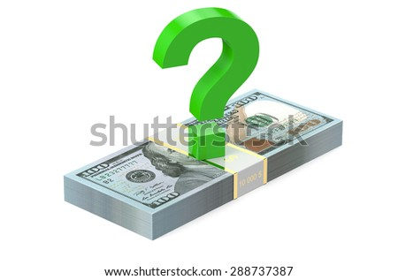 packs of dollars with question sign  isolated on white background - stock photo