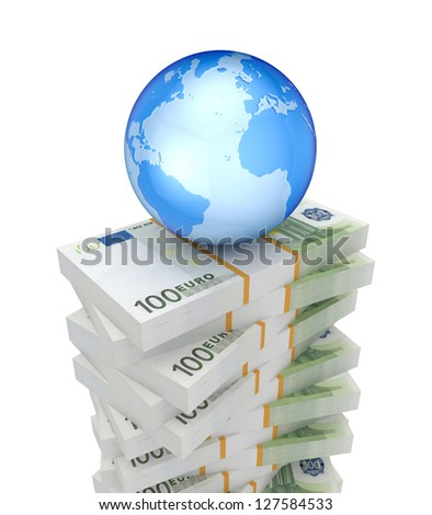 Packs of euro and Earth.Isolated on white background.3d rendered. - stock photo
