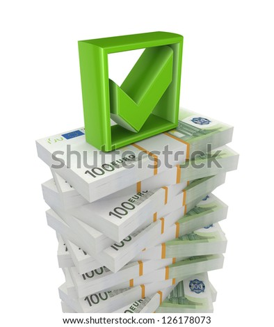 Packs of euro and green tick mark.Isolated on white background.3d rendered. - stock photo