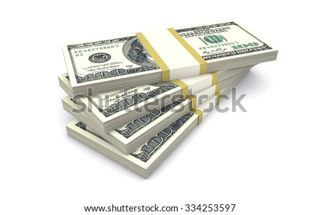 Packs of money isolated on white - stock photo