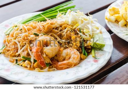 Pad Thai Food, Stir fry noodles with shrimp. - stock photo