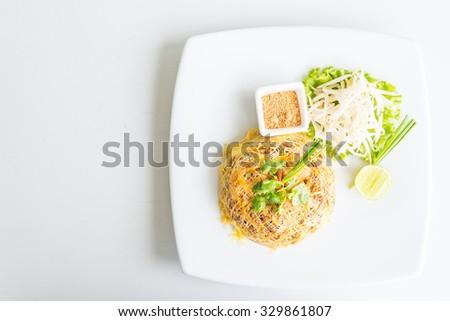 Pad thai noodles - thai style food - stock photo