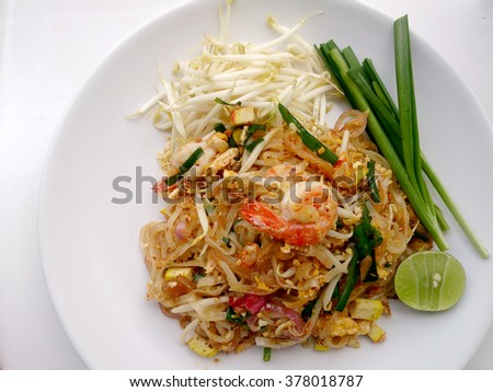 Pad Thai, stir-fried rice noodles with shrimp. The one of Thailand's national main dish. the popular food in Thailand. Thai Fried Noodles - stock photo