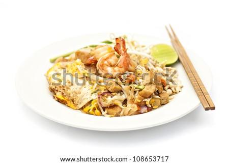 Pad thai, Thai noodle with shrimp - stock photo