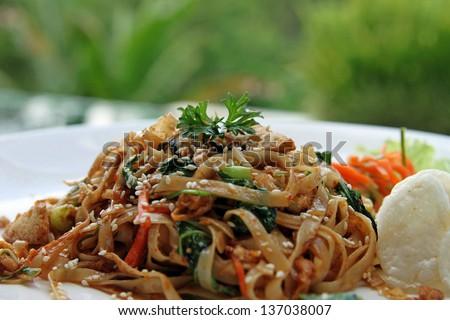 Pad Thai with rice crackers - stock photo
