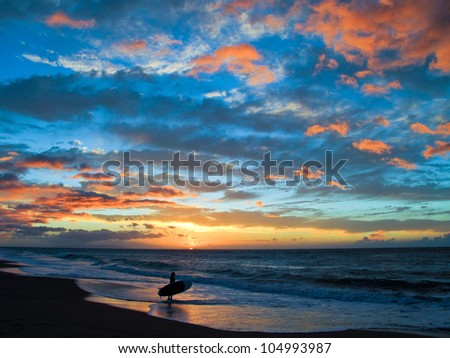 Paddle Board Sunset - stock photo