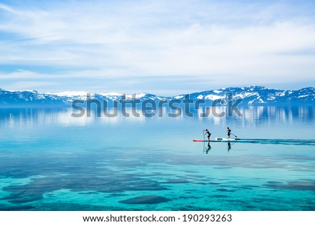 Paddle boarding - stock photo