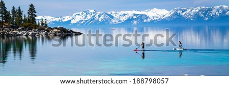 Paddle boarding Lake Tahoe - stock photo