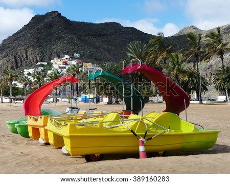 paddle boats ready for summer,Tenerife island,Spain - stock photo