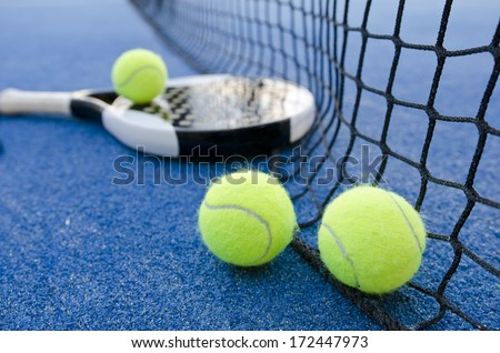 paddle tennis objects ion artificial turf ready for tournament - stock photo