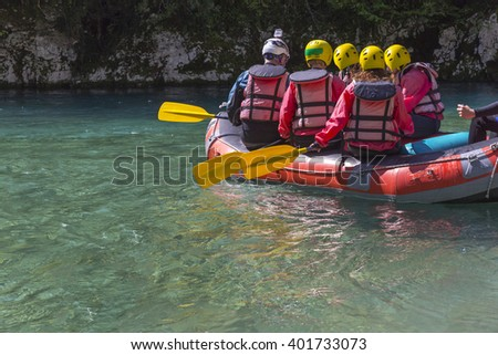 paddles rowing, rafting boat backgroud, in Ioannina prefecture, Voidomatis river, Greece - stock photo