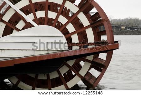 Paddlewheel of tourist boat on the Illinois River - stock photo