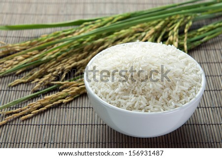 Paddy and rice grain over bamboo mat - stock photo