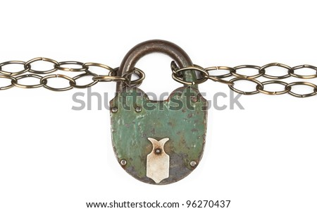 Padlock and chain on a white - stock photo