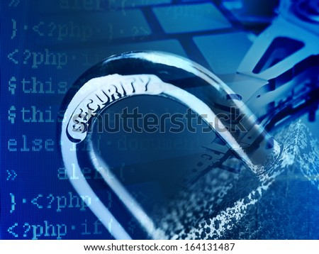 Padlock and computer data. Security concept.  - stock photo