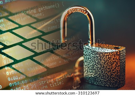Padlock and computer data. Security concept. - stock photo
