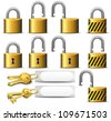 Padlock and Key - A set of Padlocks and Keys in Brass - Raster Version - stock photo